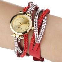 New Fashion Geneva calendar watches leather double rhinestone diamond watches luxury dress unisex quartz wristwatches MM049#