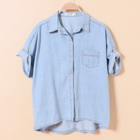 Summer 2014 New High quality Loose Big Yards Bat Short sleeve Denim Shirt  Color Blue