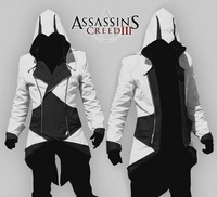 Assassins Creed III Connor/Conner Kenway Hoodie Costume Jacket Coat White Black