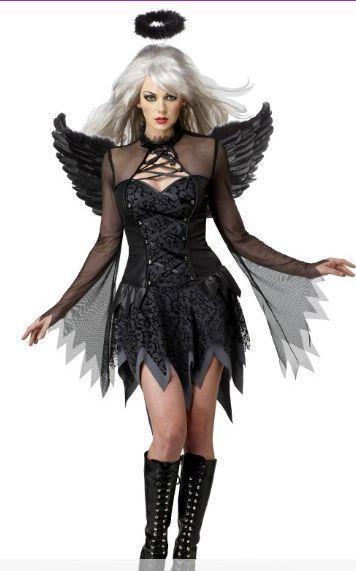 Hot Popular Carnival Costume Sexy Costumes Women Fallen Angel Costume 4F1237 S,M,L,XL Free shipping(China (Mainland))