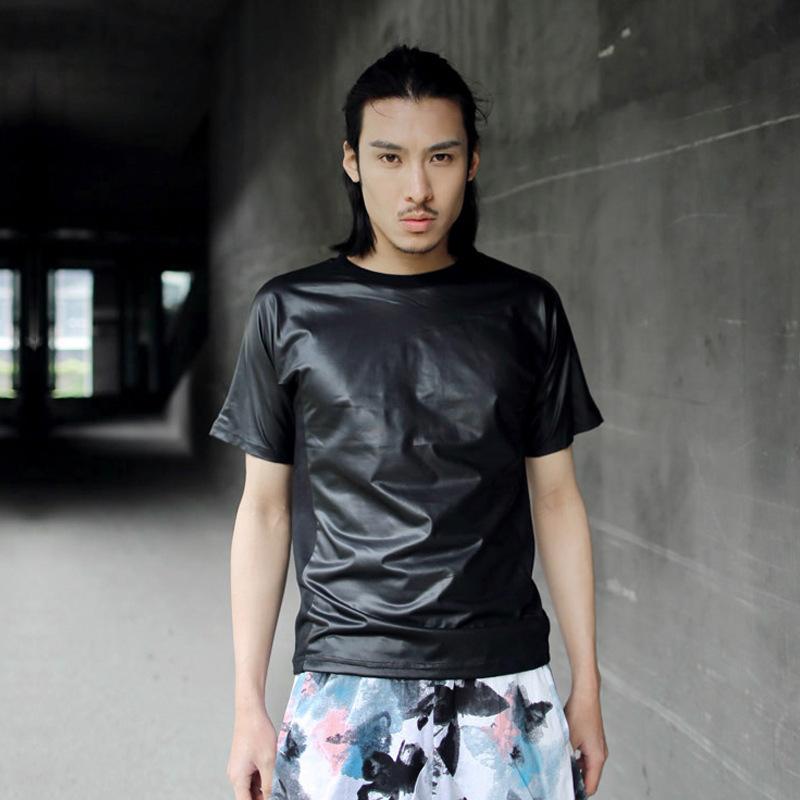 New 2014 Men Faux Leather Punk T-shirt Mens Designer Brand Clothing Cool Hip Hop Dance Black T shirts Tops & Tees Summer Spring(China (Mainland))