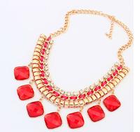 women's fashion geometric imitation gem  hand-woven punk color short Necklace For women dress jewelry Free Shipping