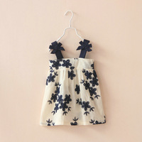 DS4059 Girls cotton  embroidery flower  dress .6pcs/lot