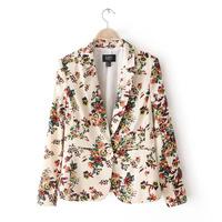 Free shipping spring 2014 fashion women jacket blazers printed plus size blazer suits outwear L0933