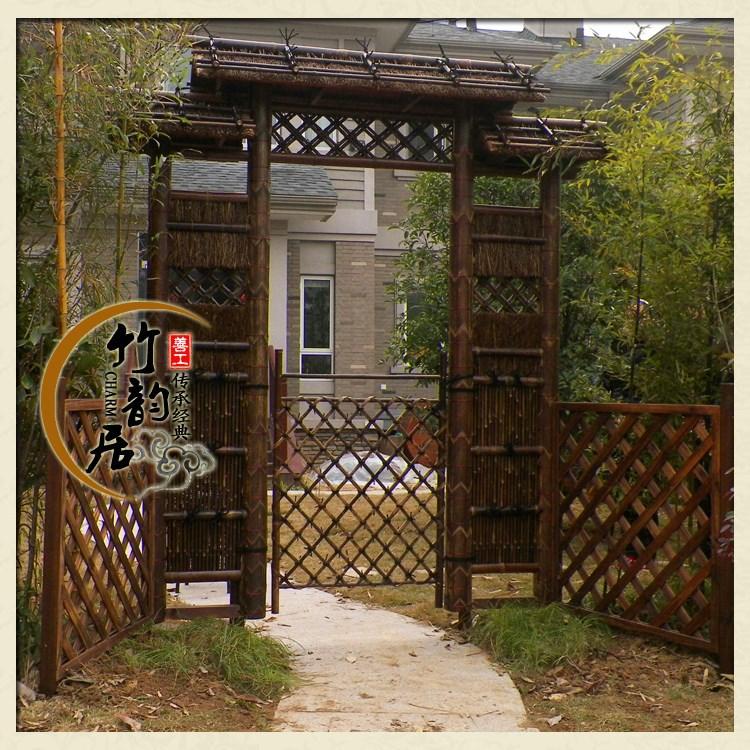 Villa porta de bambu de bambu porta portão cerca portão do jardim