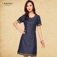 Free Shipping 2014 Hot Sale High Quality Short Sleeve Denim Dress Women Plus Size Dresses Summer M5260 M-5XL