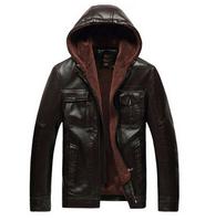 2014 men's fashion winter dress , leather jacket coat , men's deep color casual jacket 105
