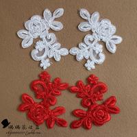 New ! Red -white lace applique wedding veil headdress flower handmade DIY applique motif