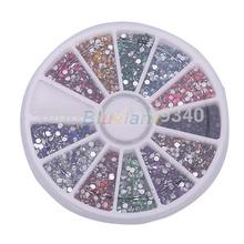 New arrive New Wheel 2mm Nail Art Glitter Tips Rhinestones Round Gems for Nail Art Nail Beauty Free Shipping