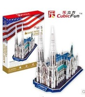 Free Shipping wholesale  hardcover copy 3d puzzle assembled puzzle toy- New York st bart jue cathedral MC103H