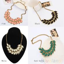 Hot New Women Bib Statement Collar Chain Resin Leaves Pendant Necklace (China (Mainland))