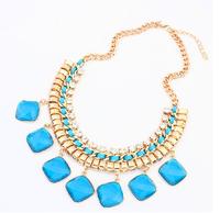 Hot sale women's fashion geometric imitation gem hand-woven punk color short Necklace For women dress jewelry Free Shipping