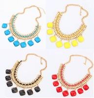 Wholesale  women's fashion geometric imitation gem hand-woven punk color short Necklace For women dress jewelry Free Shipping