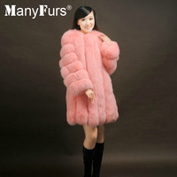 ManyFurs-natural genuine Fox fur women luxurious winter coat slim long style furs coats whole piece free shipping by EMS