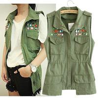 2014 New Autumn Women Denim Cotton Army Green Fashion Vest slim diamond beaded Pockets Sleeveless Coat Streetwear Drop Shipping