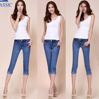 #3601-2 New 2014 fashion high quality women lady girls denim jeans capris pants