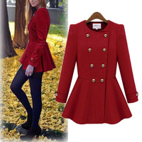 2014 New Fashion Women Lady Long Sleeve Double-breasted Woolen blends Slim Thick Autumn Winter Skater Jacket Coat S-XL 3 Colors