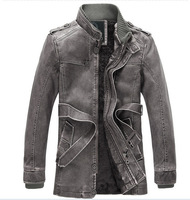 free shipping men's coat , men's long length solid stand collar leather jacket , men's winter dress 130