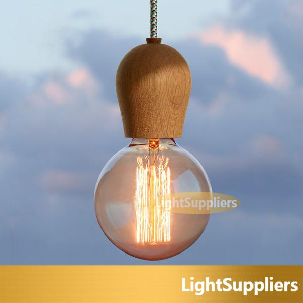 WOOD Muuto E27 1pcs free shipping socket Chandelier lamp lights Hanging wood holder pendant ~No bulbs(China (Mainland))