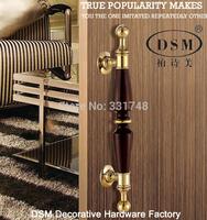Entry Door Pull Handle Black Peach Wood+Zinc Alloy Golden PA-3211C-L380mm