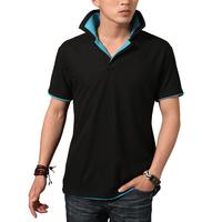 Hot sale 2014 summer men short-sleeve T-shirt men's casual clothing short-sleeve T-shirt turn-down collar  t shirt plus XXXL
