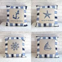 Mediterranean-style cotton cloth / canvas striped cushion pillow  - Free shipping