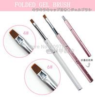 Free shipping 10pcs/lot UV Gel Foldable Nail Art Builder Detail Painting Drawing Brush Pen With Rhinestone