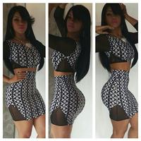 2014 New Fashion Sexy Women Dress Club Wear Bodycon Patchwork Bandage 2 Pieces Long Sleeve Black Mesh Mini Dress Plus Size S-3XL
