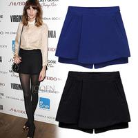 2014 New Women's causual Black\Blue Plus size(S-XXL) yards render hot pants Ladies slim European&American Shorts Hotsale