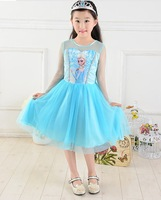 2014 New Cartoon gauze dress for girl party dress Elsa Frozen Dresses FROZEN Princess Multicolor 20 pcs lot