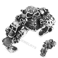 Free shipping! Heavy Skull Biker Bangle Stainless Steel Jewelry Gothic Casted Cuff Bangle Punk Men Motor Bracelet SJB0197