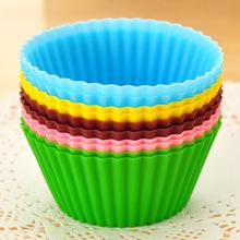 12pcs / lot forma redonda Silicone Muffin Casos Bolo Cupcake Liner Baking Mold(China (Mainland))