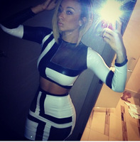 women summer Sexy two Piece Bandage Dress 2014 spring Black White Bodycon Women Mesh Party Dress Night Club Wear Outfits