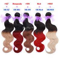 NEW!  Indian virgin hair body wave  rosa hair products TWO TONE OMBRE HAIR 100% human hair weave