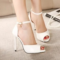 7-free shipping new 2014 sweet style women pumps sandals ladies peep toe summer single shoes high heels  black/white/pink