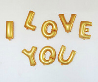 """classic toys balloons Foil Letter Balloons 16inch""""I LOVE YOU""""silver gold  balloons wedding decoration event & party supplies"""