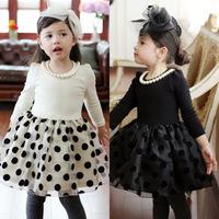 New 2014 Autumn and Winter Girls High quality temperament plus velvet Polka Dot Dresses F30-02