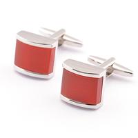 Red Simulation Gem cuff links,High Quality Men's Silver Cufflinks For Boyfriend Gift