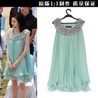 New 2014 women summer dress crumple chiffon petals party dress D101