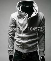 2014 Direct Selling Streetwear Men's Leisure Hooded Sweatshirts Oblique Zipper Sweater Men Jacket Outerwear 5colors Size M--3XL