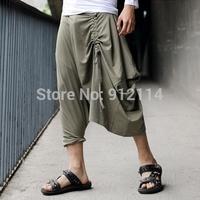 2015 spring new punk style rock rebel military green Cropped harem pants men low drop crotch Pants for men slacks calca,