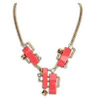 Women's fashion Geometric imitation gem pendants golden short Necklace For women 2014 new arrive dress jewelry Free Shipping