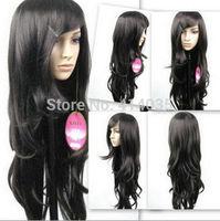 """30"""" Cos Harajuku long wind Wavy black hair wavy fashion made human no Lace Front Kanekalon Cosplay Wigs free shipping"""