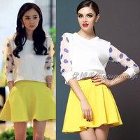 New 2014 spring set polka dot long-sleeve top bust skirt clothing set women summer dress casual dress D103