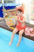 2 pc baby girls Swimwear kids girls bathing suit hat +swimsuit bunny