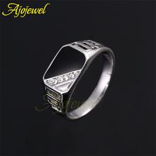 Size 8,9,10,11  2014 Latest Design Men's Jewelry 18K White Gold Plated Black Enamel Men Fashion Ring With CZ