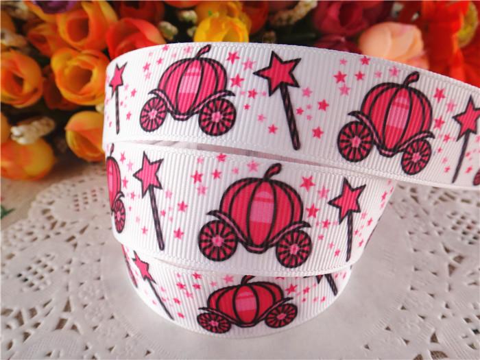 "new arrival 7/8"" (22mm) pumpkin carriage printed grosgrain ribbons cartoon ribbon diy hair bows 10 yards WQ14052439(China (Mainland))"