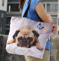 More than 20 Colors Pug Print Women Shopping Tote Bag Utility Female Lady Shoulder Bag Zip Handbag + Inside Pocket Free Shipping