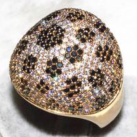 Luxury spherical full drilling Black Stone plum blossom dotted finger ring AAA zircon 506 grains (298 white +208 black) ALW1885