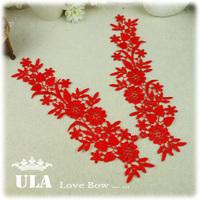 Water soluble paste delicate flower patterns applique patch flowers lace Collar 9 * 27.5cm